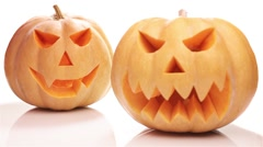 Two halloween pumpkins Stock Footage
