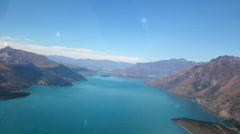 QUEENSTOWN LAKE MOUNTAINS AERIAL NEW ZEALAND - stock footage