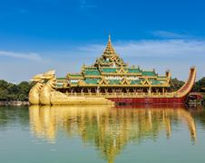 Karaweik - replica of Burmese royal barge, Yangon - stock photo