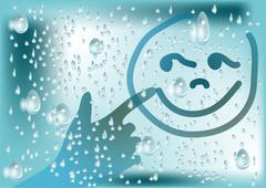 drops and hand - stock illustration