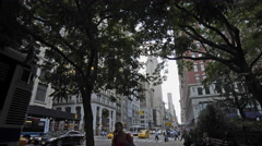 Empire State Building Manhattan New York City 5th Ave NYC Traffic 4K Trees Stock Footage