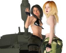Two female soldiers are standing beside a tank Stock Illustration