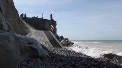 A bunker at the sea near Calais, France Stock Footage