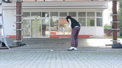 Dancer at an old abandoned gas station Stock Footage