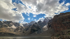 Mountain valley in the clouds. TimeLapse. Pamir, Tajikistan. 1280x720 - stock footage