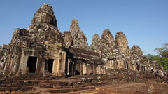 Tourists Entering the Bayon Temple at Angkor, Siem Reap, Cambodia Stock Footage