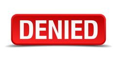 Denied red 3d square button isolated on white background Stock Illustration