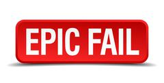 epic fail red 3d square button isolated on white background - stock illustration