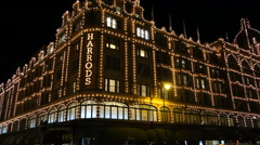 London night traffic near harrods Stock Footage
