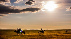 Horse Riding in Mongolia Stock Footage