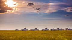 Mongolian Ger Camp Stock Footage