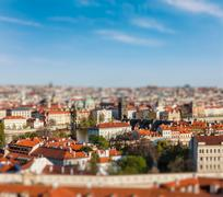 Aerial view of Praha from Prague Castle - stock photo