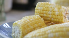 Corn strung on wooden skewers Stock Footage