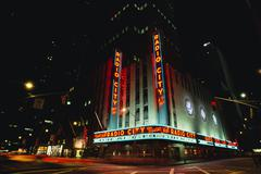 Radio City Music Hall at Night, New York City, New York, USA Stock Photos