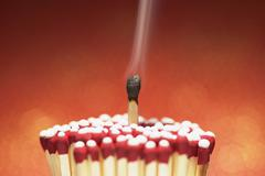 Burnt Match with Cluster of Unlit Matches - stock photo