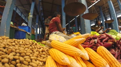 View of local seller preparing corn for selling at the Sunday market. Stock Footage