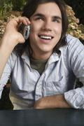 Man Using Cellular Telephone - stock photo