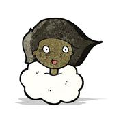Stock Illustration of woman with head in clouds cartoon