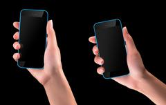 Hand holding Black Smartphone with blank screen - stock photo