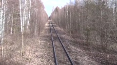 Driving an old railway - view from locomotive, looking ahead Stock Footage