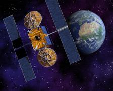 Communication Satellite Above Earth Stock Illustration