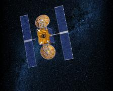 Communication Satellite In Outer Space - stock illustration