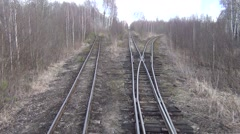 Driving an old railway - view from locomotive, going over switch Stock Footage