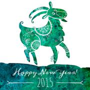 Watercolor pattern goat. Chinese astrological sign. New Year 2015. Stock Illustration