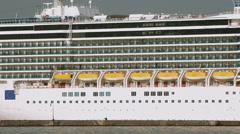 ODESSA - JULY 6: Luxury cruise ship COSTA DELIZIOSA cruising into open sea on Stock Footage