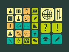 Modern flat vector set of scientific icons Stock Illustration