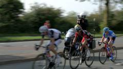 3 cyclist followed by camera bike Stock Footage