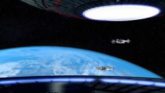 Invasion with two giant spaceships Stock Footage