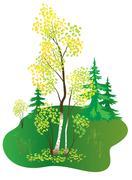 Stock Illustration of vector illustration with autumn birch