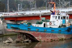 Japan Wrecked Boat Stock Photos
