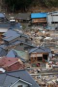 Disaster Japanese Village - stock photo
