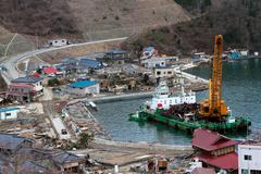 Japan Harbor Wreckage - stock photo