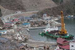 Japan Harbor Wreckage Stock Photos