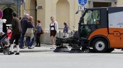 MUNICH BEER FESTIVAL OKTOBERFEST OCTOBERFEST Municipal Street Cleaning Sweeper Stock Footage