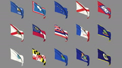 Flags of the 50 US states - Part 1 of 4 Stock Footage