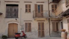 Italy landmark scooter in old house Stock Footage