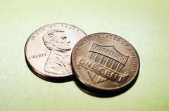 Studio shot of one american cent Stock Photos