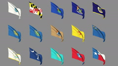 Flags of the 50 US states - Part 3 of 4 Stock Footage