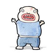 cartoon mutant boy - stock illustration