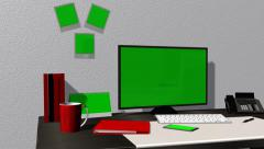 Office work place with green screen monitor, calendar, smartphone, pictures - 4K Arkistovideo