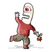 cartoon mutant man - stock illustration