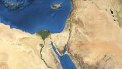 Israel. 3d earth in space - zoom in on Israel contoured 4k Stock Footage
