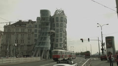 Prague Dancing House. Gehry/Milunić designed house in Prague. Stock Footage