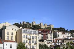 Lisbon Neighbourhood, Castelo de Sao Jorge in the Background, Portugal Stock Photos