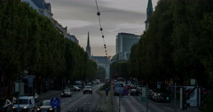 Viennese Traffic Hub in Evening Mood // 4k Timelapse Stock Footage