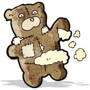 cartoon torn teddy bear - stock illustration